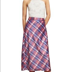 Anthropologie Hutch Blue Pink Maxi Checkered Skirt